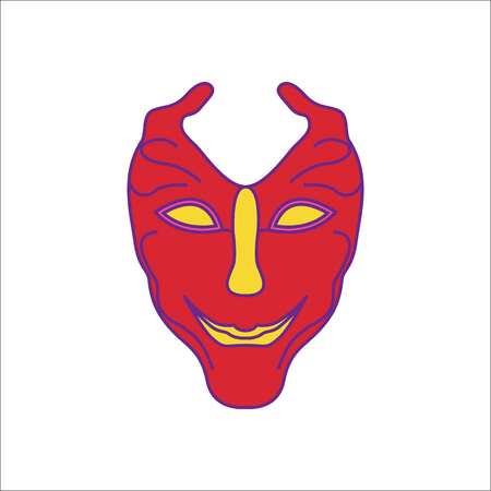 Carnival or Mardi Gras mask symbol simple flat icon on background