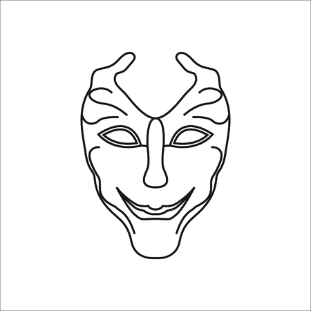 Carnival or Mardi Gras mask symbol simple line icon on background Illustration