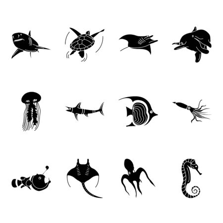 Sea world creatures and fish, sign silhouette icons.