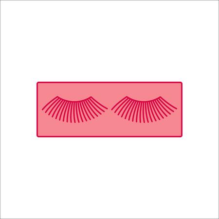 long eyelashes: False eyelashes symbol simple flat icon on background