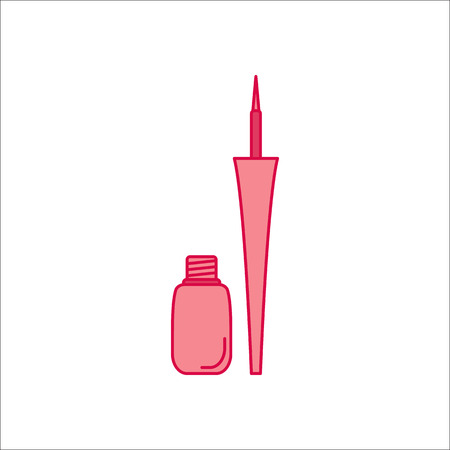Matt liquid eyeliner symbol simple flat icon on background