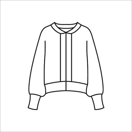 Bomber or College jacket symbol simple line icon on background Illustration