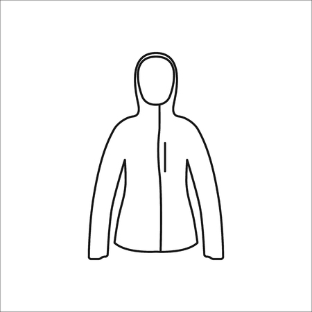 warmed: Women sport jacket symbol simple line icon on background