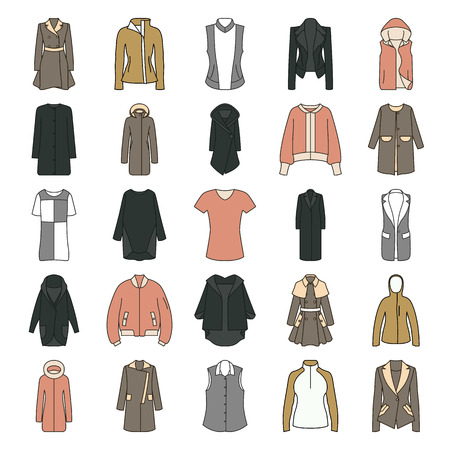 jupe: Womens clothes jacket, overcoat, down-padded coat, vest, sweatshirt, suit jacket, bomber symbol flat icon set