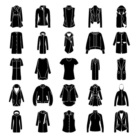 Womens clothes jacket, overcoat, down-padded coat, vest, sweatshirt, suit jacket, bomber symbol silhouette icon set Illustration