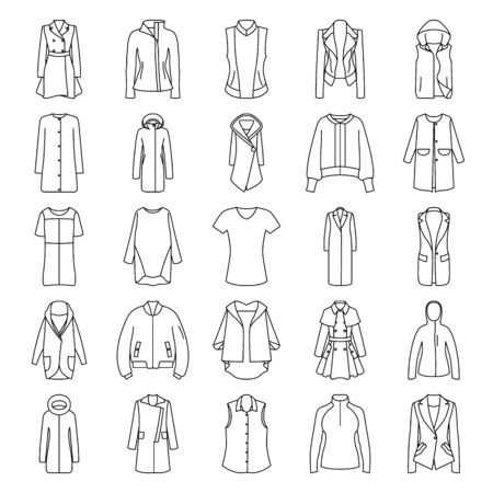 jupe: Womens clothes jacket, overcoat, down-padded coat, vest, sweatshirt, suit jacket, bomber symbol line icon set Stock Photo