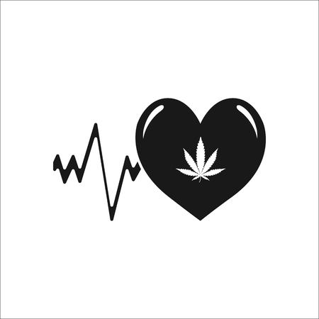 Marijuana Love Or Heart Cardiogram Symbol Simple Silhouette