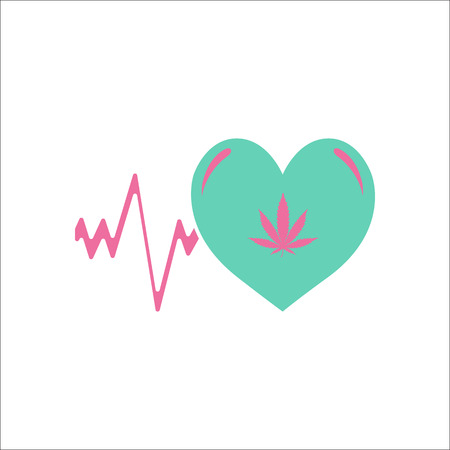 Marijuana love or heart cardiogram symbol simple flat icon on background