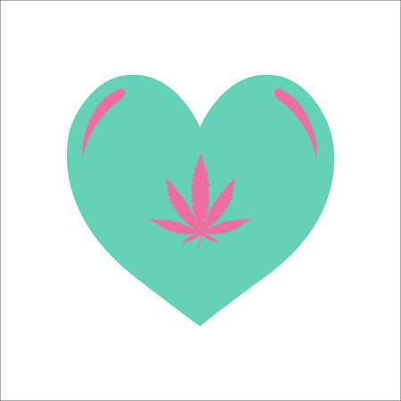 Marijuana love or heart symbol simple flat icon on background