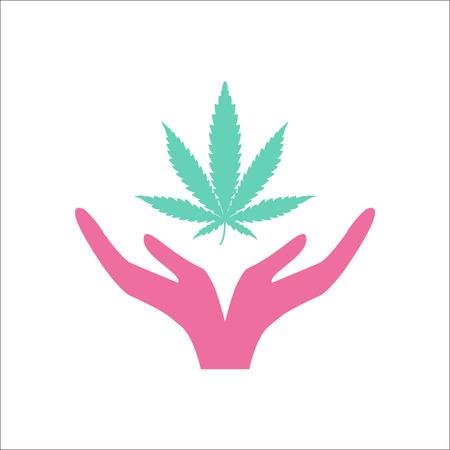 weeds: Marijuana care symbol simple flat icon on background Illustration