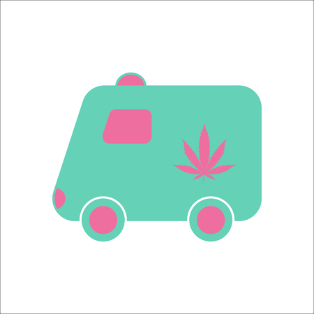 Marijuana delivery truck symbol simple flat icon on background