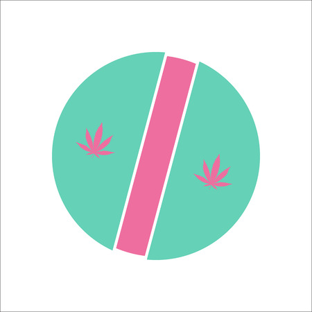 Marijuana medical pill symbol simple flat icon on background