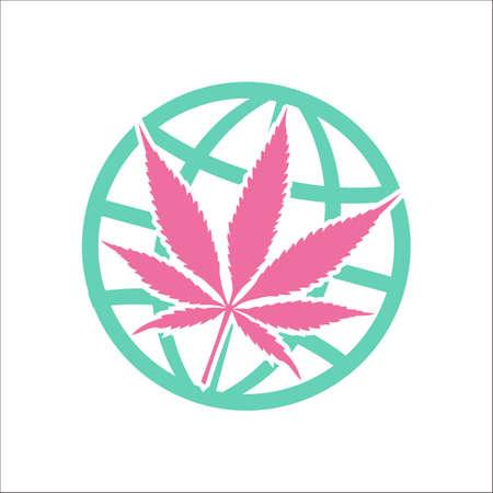 Legalize marijuana or cannabis globe symbol simple flat icon on background