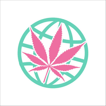 Legalize marijuana or cannabis globe symbol simple flat icon on background