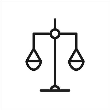 judgments: Scales symbol simple line icon on background Illustration