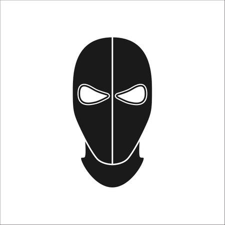 Balaclava mask simple silhouette icon on background 向量圖像