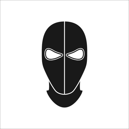 Balaclava mask simple silhouette icon on background Illustration
