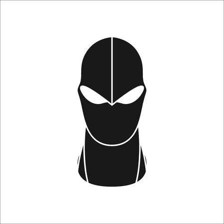 Balaclava mask simple silhouette icon on background Ilustrace