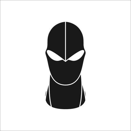 Balaclava mask simple silhouette icon on background Illustration