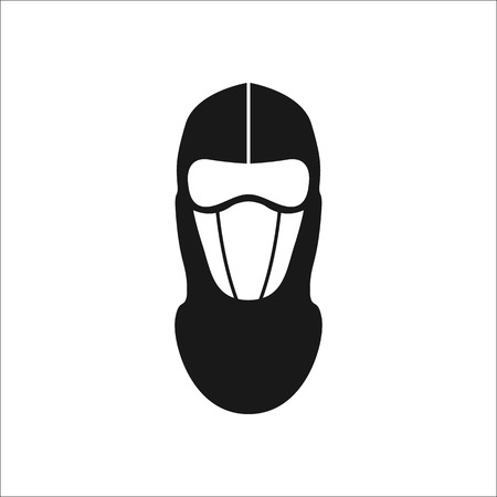 detainee: Balaclava mask simple silhouette icon on background Illustration