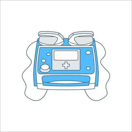 Defibrillator symbol simple flat icon on background