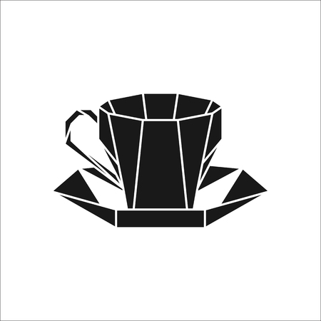Coffee tea cup on plate polygon silhouette logo icon on background