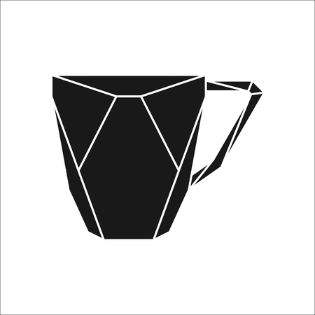 Big teacup polygon silhouette logo icon on background Illustration