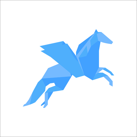 Origami-Papier Pegasus Symbol einfache flache Symbol im Hintergrund Standard-Bild - 79248406