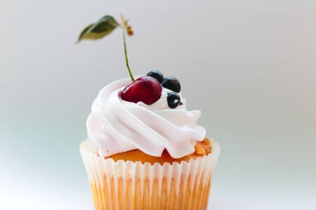 Isolated cupcake with cream, cherry with a leaf and black currant on a white background. 版權商用圖片