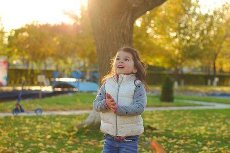 A merry child scatters an armful of yellow fallen leaves. Sunny sunset in autumn park outdoors 写真素材 - 133550148