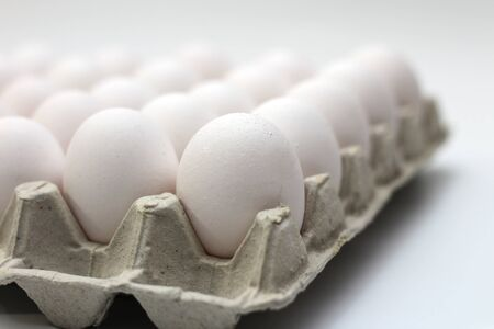 An isolated tray of eggs from recycled materials with white eggs on a white background. Selective Focus 写真素材