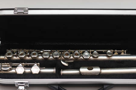 Open case with a shiny disassembled flute lying in it
