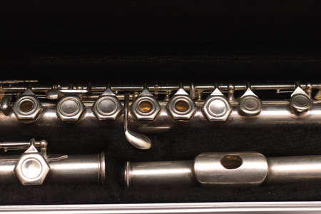 Open case with a disassembled flute lying in it