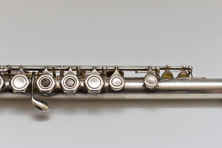 Silvery musical instrument with keys on a white background with soft shadow