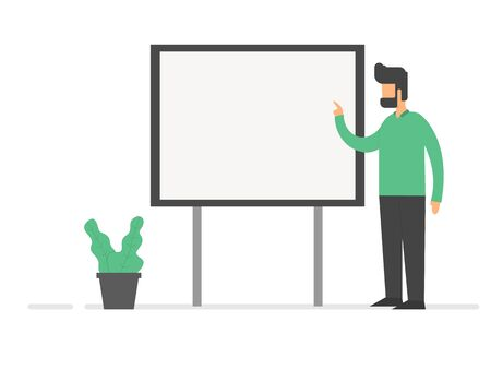 Flat illustration teacher learning with white board