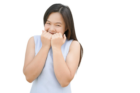 giggling: Woman smile. An asian woman is giggling and smile with happiness. Isolated.