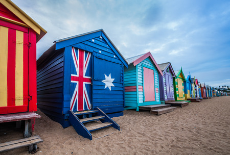 brighton: Brighton beach bathing boxes, Melbourne. Brighton beach located in the south of Melbourne. Bathing boxes are the well-known landmark of Birghton beach in Melbourne. Stock Photo