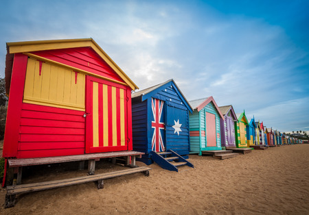 Brighton beach bathing boxes, Melbourne. Brighton beach located in the south of Melbourne. Bathing boxes are the well-known landmark of Birghton beach in Melbourne. Standard-Bild