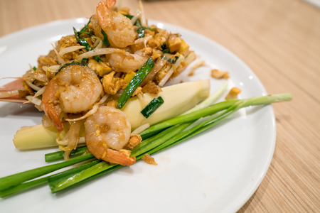 Pad Thai. Stir-fried Thai noodle. Pad Thai is the famous Thai food cuisine for foriegners. Stock Photo