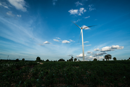 Wind turbine farm - renewable energy, sustainable energy  and alternative energy Stock Photo