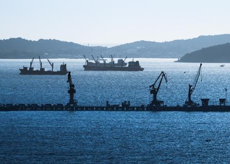 shipbuilding: Silhoutte image of shipyard seascape