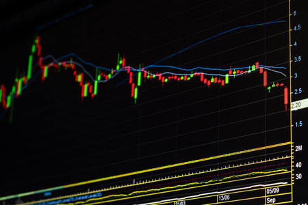 economic recession: Down trend stock market graph. Candle stick chart showing economic recession. Decreasing price graph. Bear stock market. Financial crisis in stock market. Market fall down after hit by bad news. Down trend.