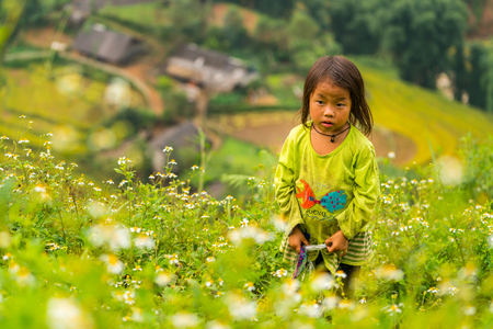 LAOCAI, VIETNAM, SEP 15: Hmong ethnic minority children on September 15, 2016 in Laocai, Vietnam. Hmong is the 8th largest ethnic group in Vietnam.