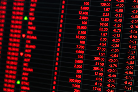 stock ticker board: Stock market price ticker board in bear stock market day. Stock market board show financial crisis. Unstable nervous emotion of stock market traders sell. Bad news hit stock market. Red ticker chart.