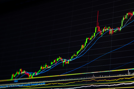 stock news: Growing up stock market graph. Candle stick chart display increasing price in stock market. Economic success and business growth concept. Bull market up graph. Stock market graph hit by good news.