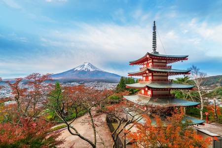 fuji san: Mount Fuji and Chureito Pagoda at sunrise in autumn. Chureito pagoda is located in Fujiyoshida, Japan. Mount Fuji, Fuji san is famous natural landmark in Japan. Fuji is Japans highest mountain. Editorial
