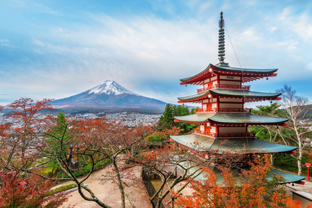 Mount Fuji and Chureito Pagoda at sunrise in autumn. Chureito pagoda is located in Fujiyoshida, Japan. Mount Fuji, Fuji san is famous natural landmark in Japan. Fuji is Japans highest mountain. Editorial