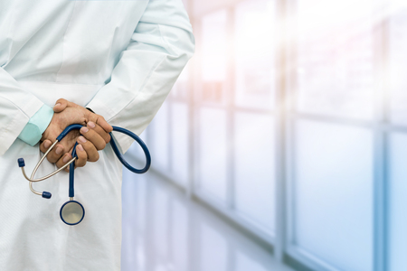 medical career: Male Doctor In The Hospital Or Doctor Office. Concept Of Medical Technology And Doctor Career. Stock Photo