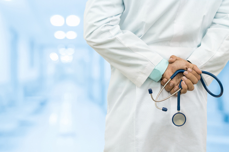 Male Doctor in the Hospital or Office. Concept Of Medical Technology and Healthcare Business.