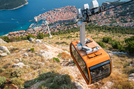 Panorama view of cable car and Dubrovnik Old Town in Dalmatia, Croatia - Prominent travel destination of Croatia. Dubrovnik old town was listed as UNESCO World Heritage Sites in 1979.